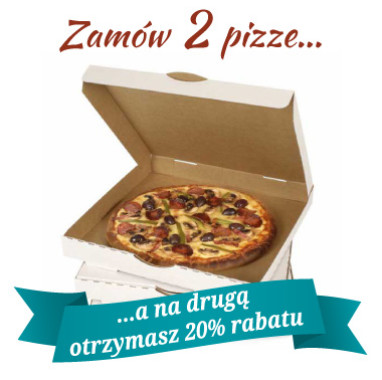 20% rabatu na drugą pizzę